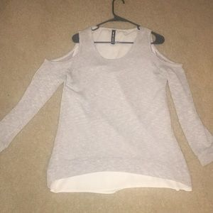 Grey cold shoulder sweater